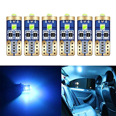 HOLDCY T10 194 LED Light Bulbs - Super Bright Ice Blue 3030 Chipsets, W5W 168 LED Replacement Bulbs,Canbus Error Free - for Car Interior Light,Dome Lamp,Door Marker License Plate Lights (Pack of 6): Automotive