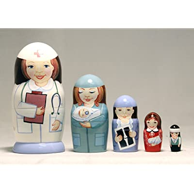 Nurse 5-piece Russian Wood Nesting Doll: Toys & Games