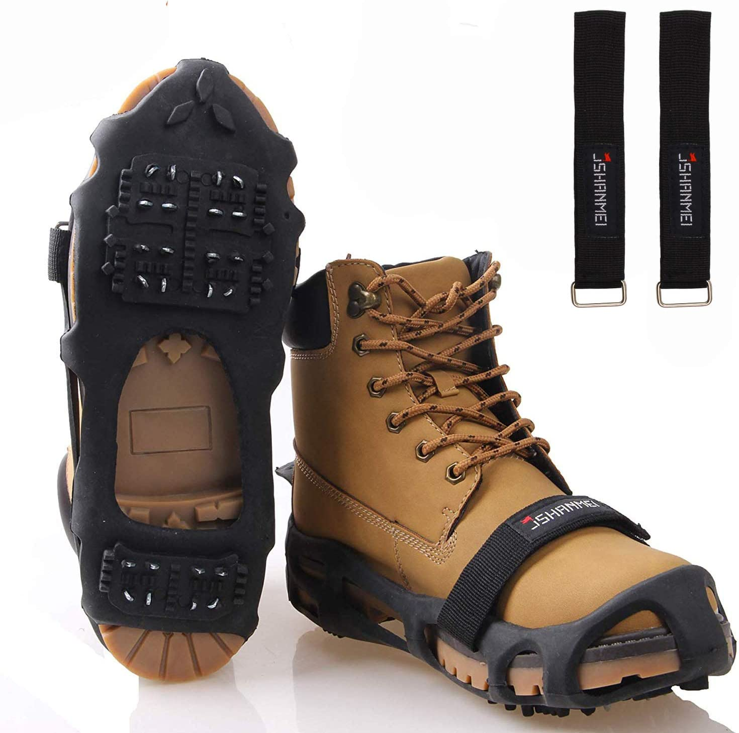 JSHANMEI Traction Ice Cleat Spikes Crampons Snow Grips Anti Slip Safe Protect Slip-on Stretch Footwear for Hiking Walking on Snow and Ice