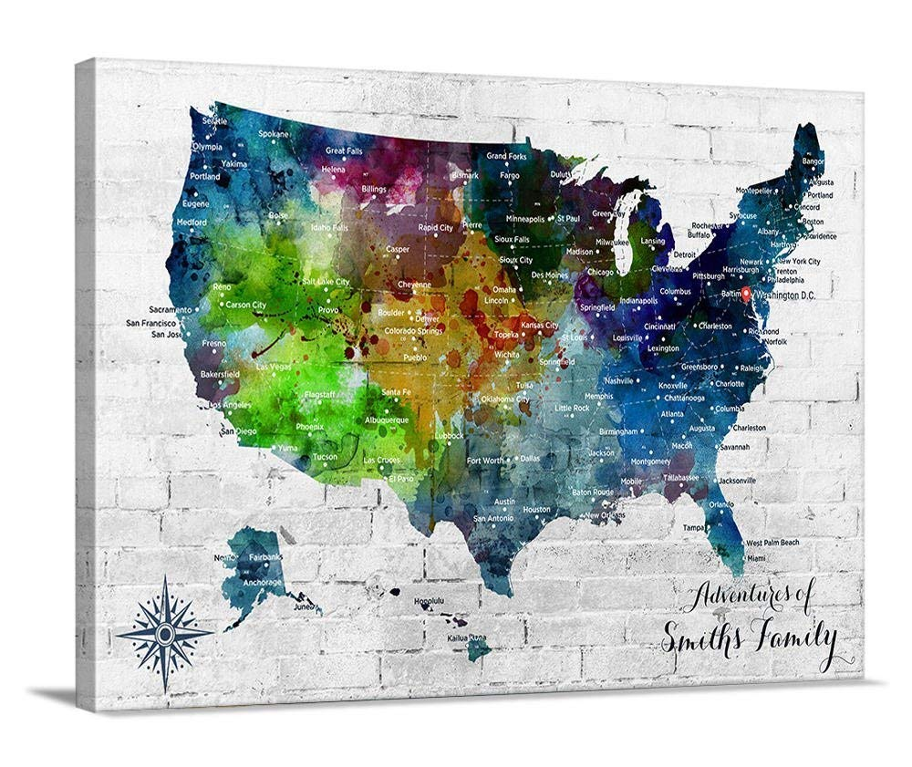 Us Map Canvas Wall Art Amazon.com: Watercolor US Map Push Pin Wall Art Canvas Print