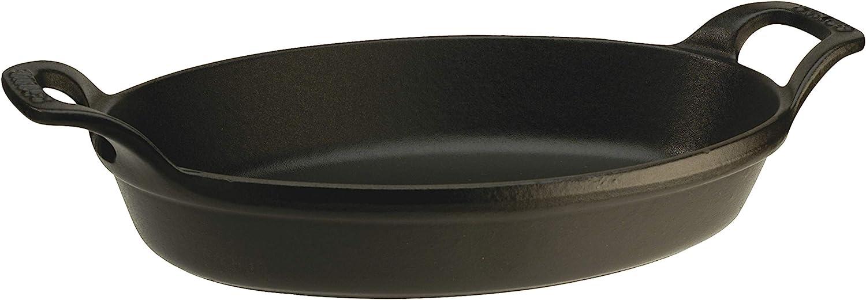 STAUB Dish Fuente Ovalada apilable, Hierro Fundido, Negro, 21 cm