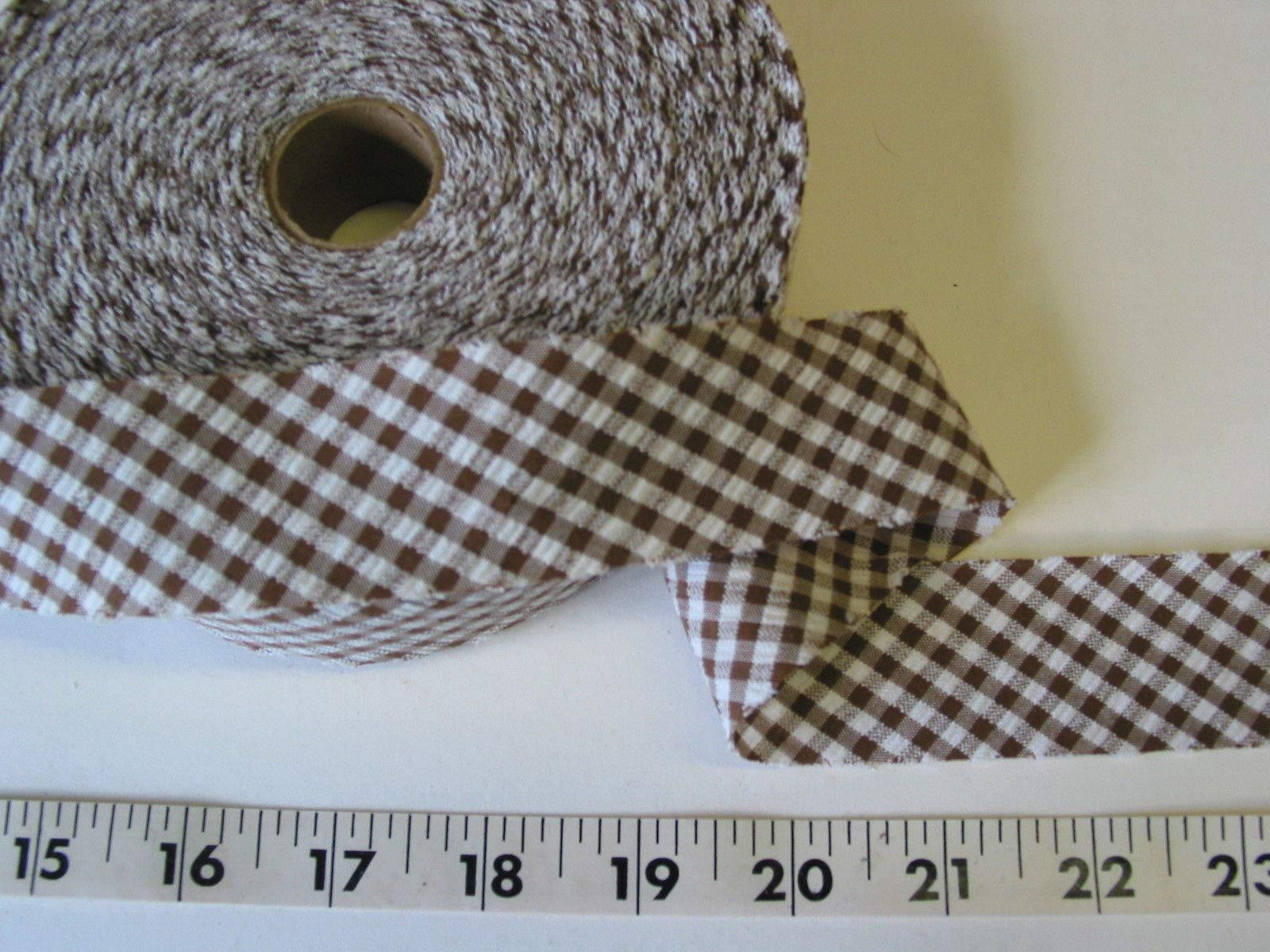 Trim Bias Binding Unfolded Checked Seersucker Brown 1 3/8 W 1 Roll by Gonling