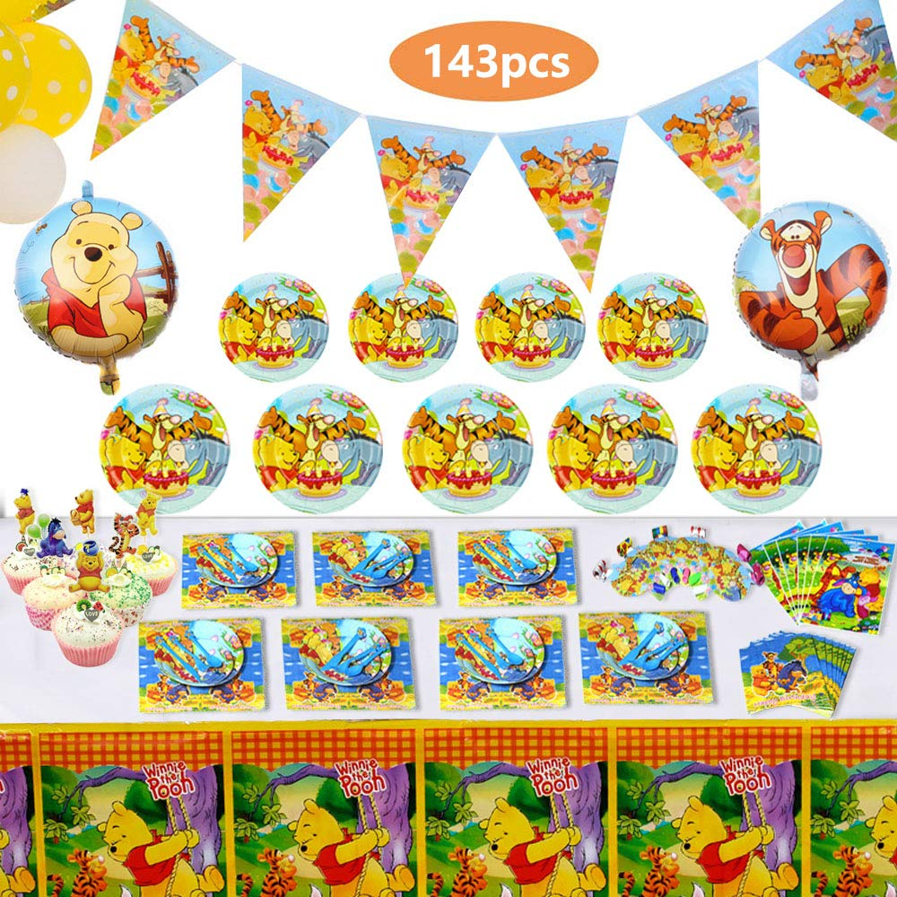 143 Pcs Deluxe Winnie The Pooh Party Supplies Pooh Birthday Decorations Favors Set for Girl Baby Shower Boy Kids 1st 2nd Classic Birthday Includes Tableware Kit Blowing Dragon Balloons Table Cloth Plates Cupcake and Banner for 12 by Koarti