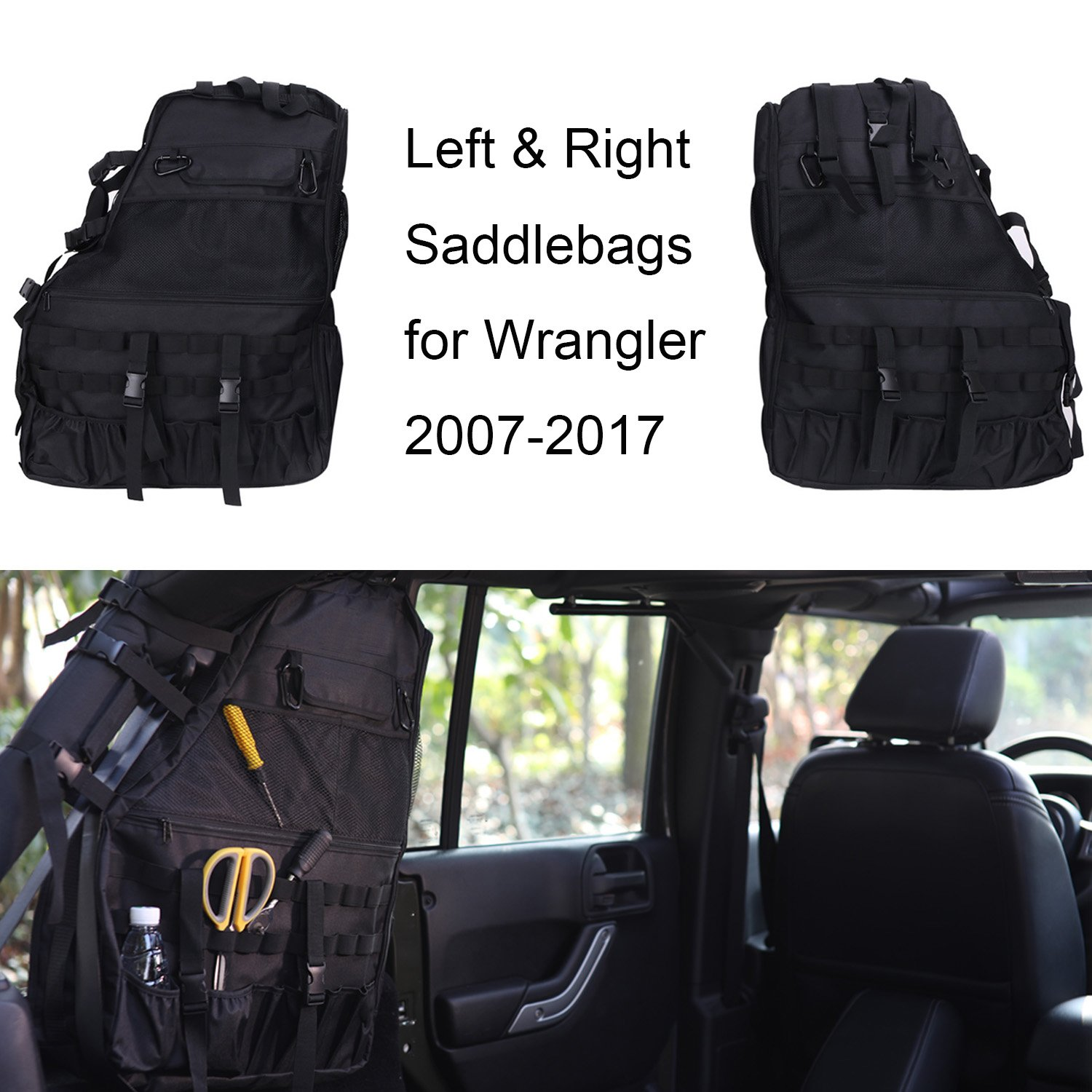 Joytutus For Jeep Wrangler Roll Cage Bar Storage Bag Saddlebag Organizer Tool Kit for JKU 4 Door 2007-2017