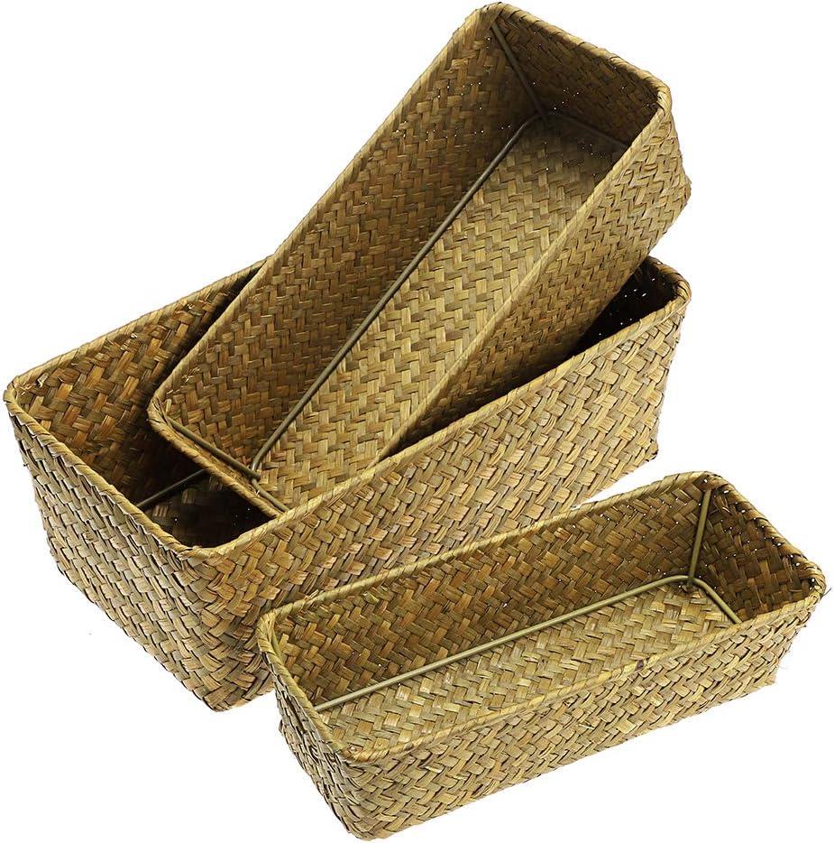 Hipiwe Set of 3 Natural Seagrass Wicker Nesting Storage Bins - Handwoven Baskets Multipurpose Home Organizer Bins for Kitchen Cabinets, Pantry, Bathroom, Laundry Room, Closets,Shelf Organizer