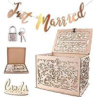 Caja de tarjeta de boda de madera