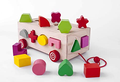 Push Toys For Toddlers : Amazon wooden educational sorting matching toy shapes push