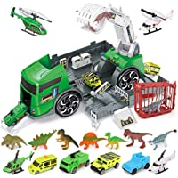 Transporter Dinosaur Truck Dinosaur Capture Car Play Set with Manipulator, Helicopter, Cage,Toys for 3 4 5 6 Years Old…