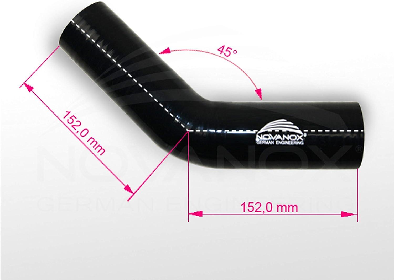 45/° Silikonschlauch Bogen /Ø 38 mm Schwarz K/ühlerschlauch Rohr flexibel Universal Turbo Hose
