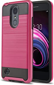 Phone Case for [LG Rebel 4 LTE (L212VL, L211BL)], [Protech Series][Hot Pink] Shockproof Cover [Impact Resistant][Defender] for Rebel 4 LTE (Tracfone, Simple Mobile, Straight Talk, Total Wireless)