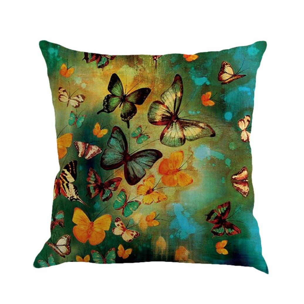 Usstore 1PC Decorative Pillowcases Square Butterfly Painting Throw Pillow Cover Cafe Home Decoration for Living Sofas Beds Room (D)