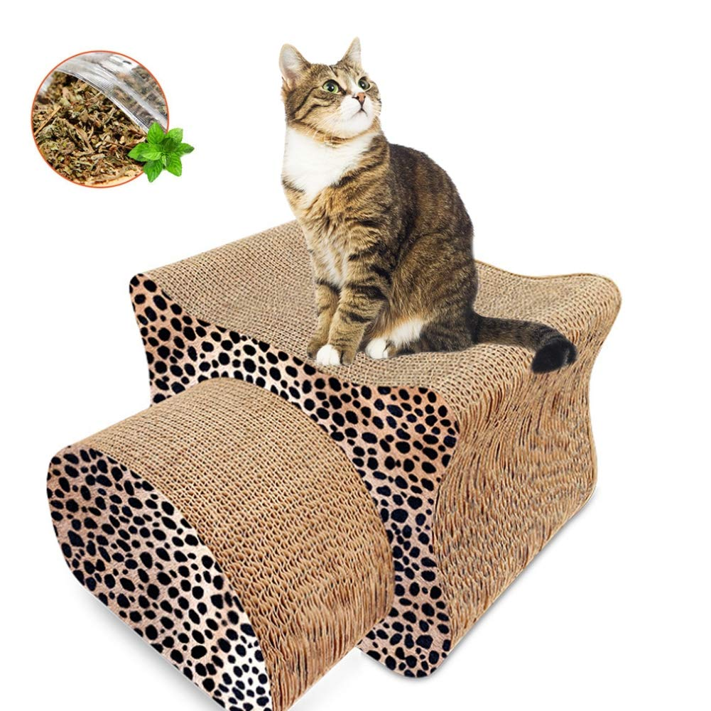 PJDDP 2 in 1 Cat Scratcher Lounge, Combo Cardboard Cat Corrugated Cardboard Sofa Bed, Durable Cat Scratcher, Cat Scratching Pads with Catnip,Leopardcolor by PJDDP
