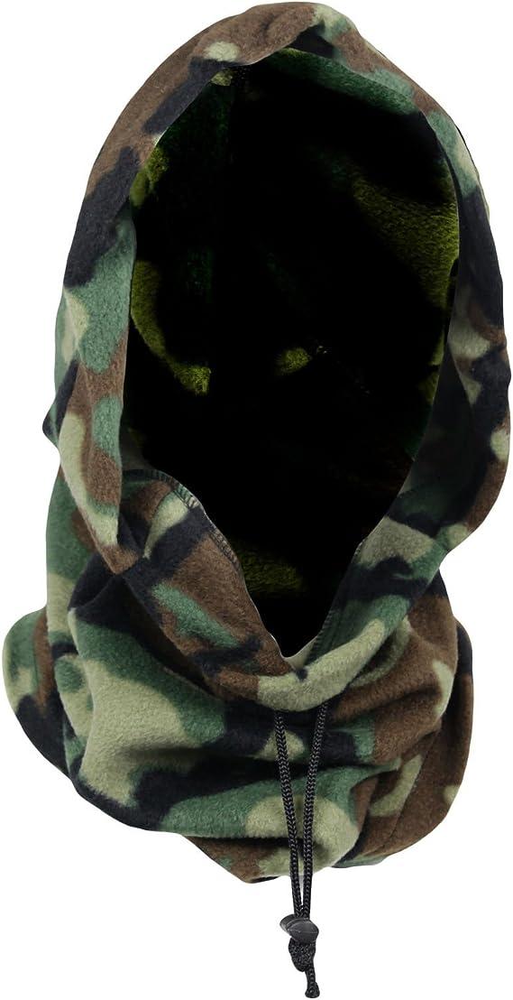 Mens Neck Warmer Hoody Hoods Winter Warm Fleece Camouflage Ski Beanie Hat Cap