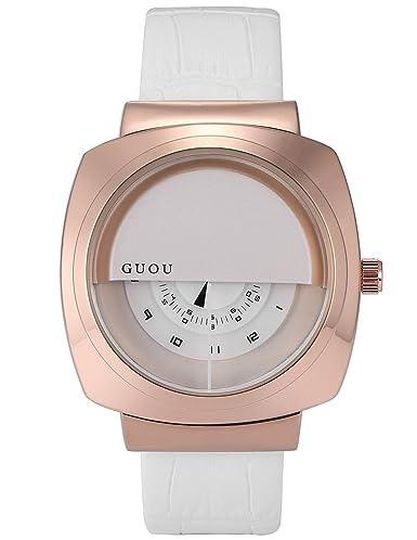 AMPM24 WK1246 Reloj Cuarzo Señorita Cuadro de Cuero Blanco: Amazon.es: Relojes