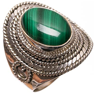 100% Natural Malachite Carving Silver 92.5 Sold Silver Ring Vintage Handmade Other Fine Rings