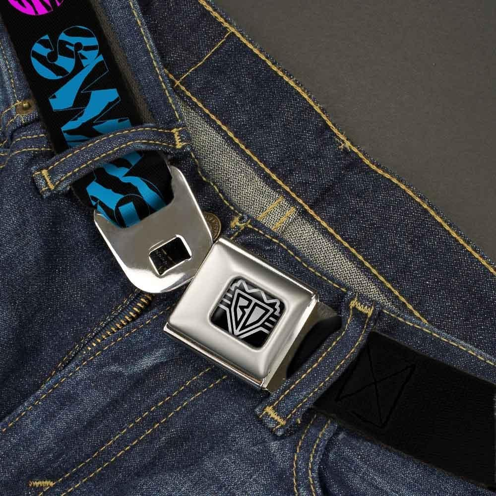 Buckle-Down Seatbelt Belt SWAGG Black//Zebra Multi Neon 20-36 Inches in Length 1.0 Wide