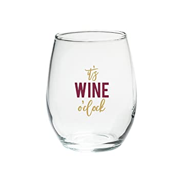 e98829dd2c5 Kate Aspen 30023NA-WOC O' Clock 15 oz. Stemless Set (4) Wine Glasses Clear