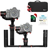 FeiyuTech a1000 Dual Handheld Gimbal Kit,Compatible with NIKON/SONY/CANON Series DSLR Camera/GoPro Camera/Smartphone, 45 Degree Elevation Design, 1KG Payload, Detachable Handle, Auto-Adjust Balance