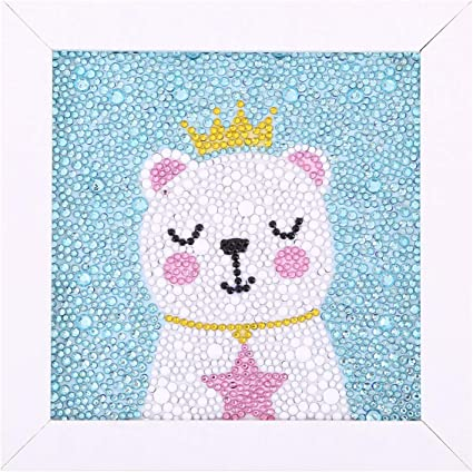 Maydear Small and Easy DIY 5d Diamond Painting Kits with Frame for Beginner with White Frame for Kids Rainbow Monkey