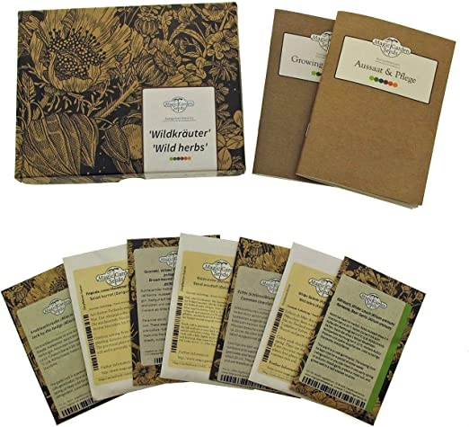 Wild Herbs Seed kit Gift Box with 7 Wild Medicinal /& Aromatic Herbs