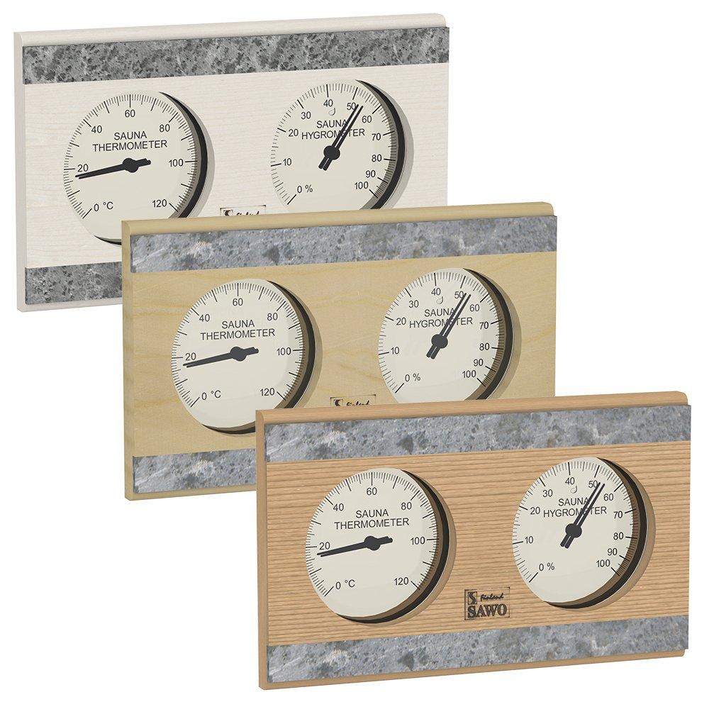 SAWO Sauna Thermo-Hygrometer 282-THR, Rectangular Horizontal with Soap Stone Strip, Pine, Aspen or Cedar