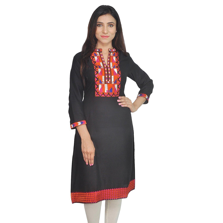 Chichi Indian Women Kurta Kurti 3/4 Sleeve Small Size Plain with Jaipuri Embroidered Straight Black Top