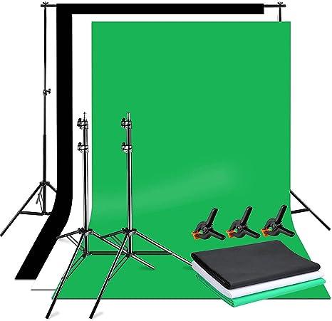 Photography Background Stand Kit Photo Studio grey Backdrop 1.6m x 5m Set