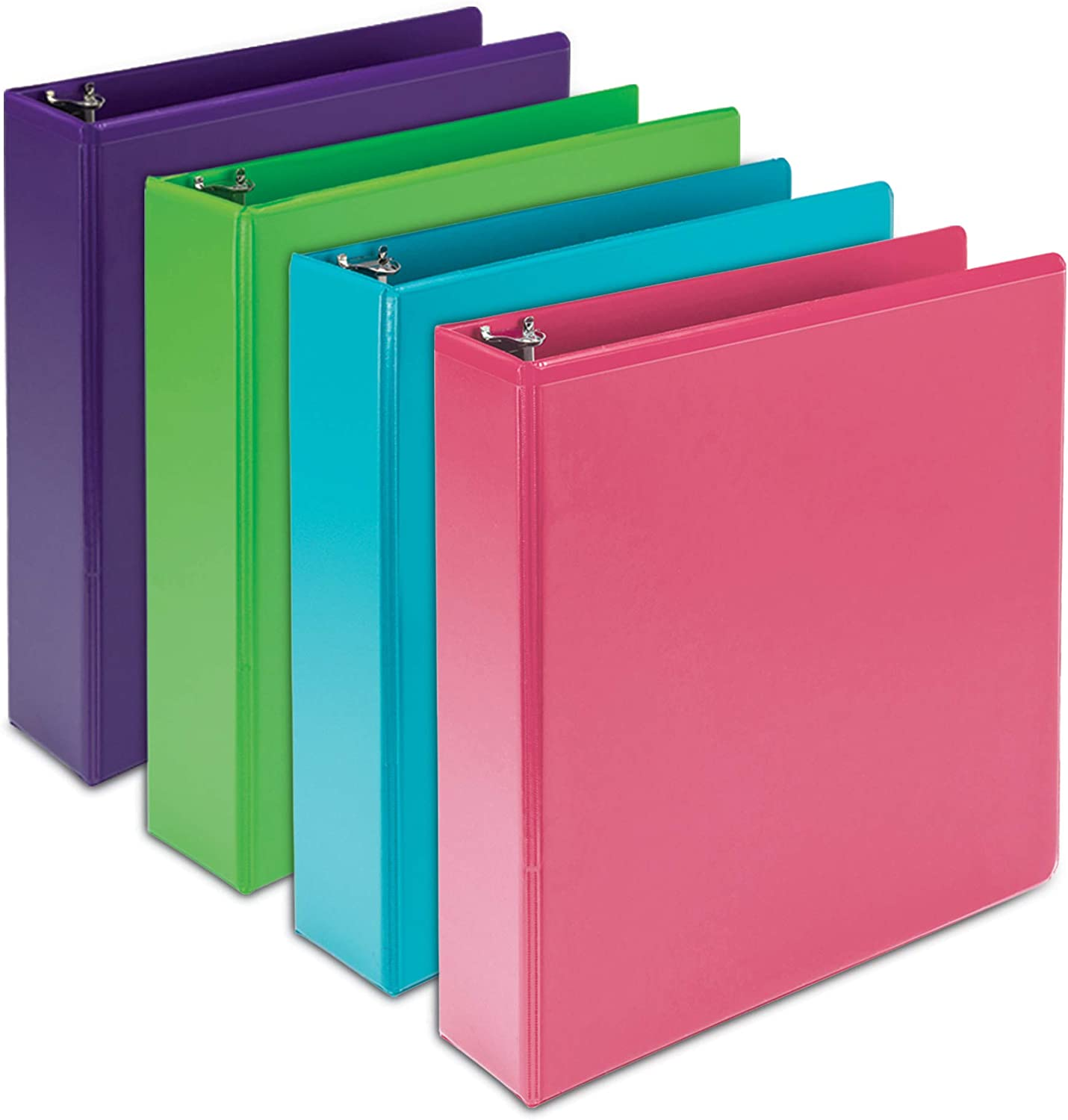 Samsill Earth's Choice Biobased Durable 3 Ring Binders, Fashion Clear View 2 Inch Binders, Up to 25% Plant Based Plastic, Assorted 4 Pack