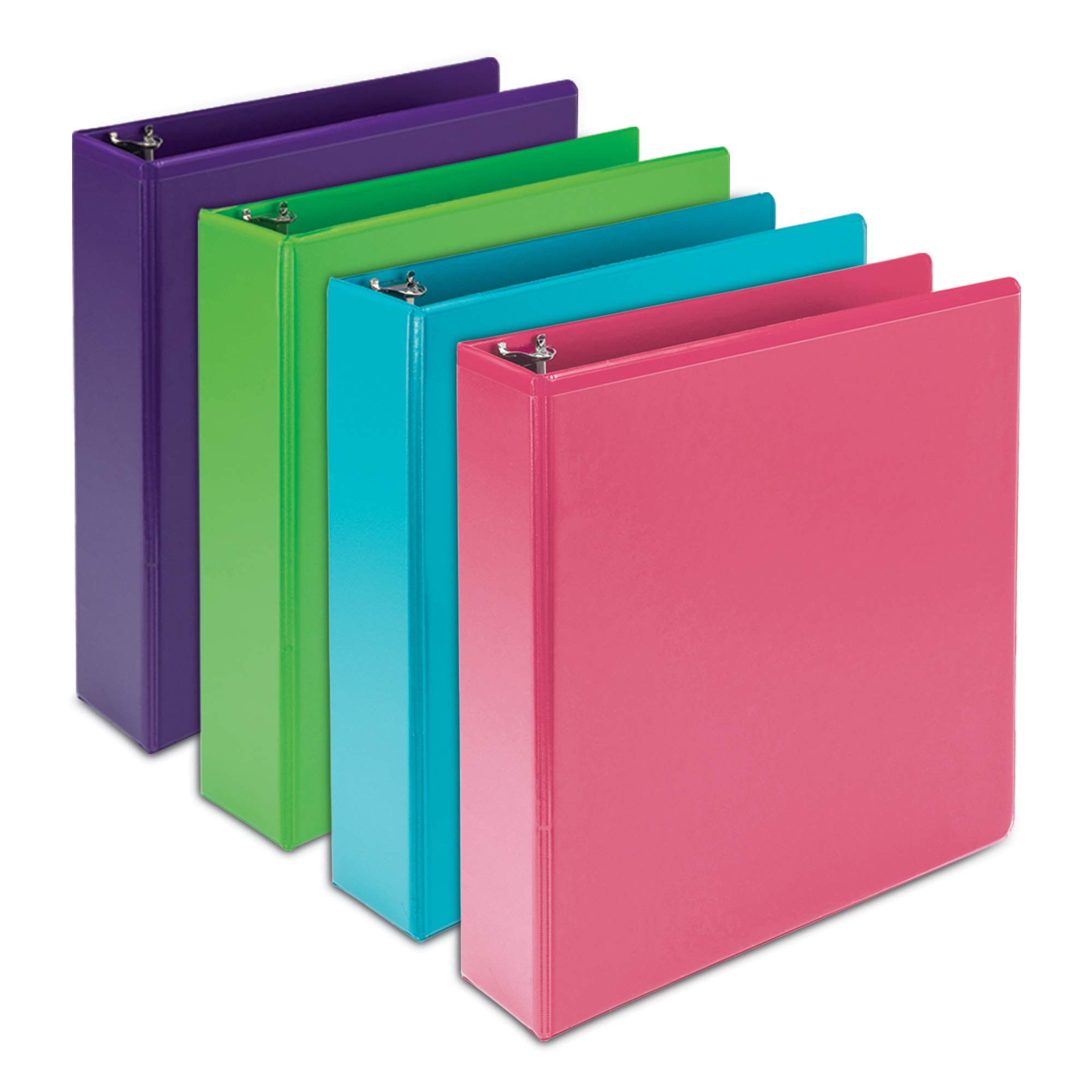 Samsill Earth's Choice Biobased Durable 3 Ring Binders, Fashion Clear View 2 Inch Binders, Up to 25% Plant Based Plastic, Assorted 4 Pack by Samsill