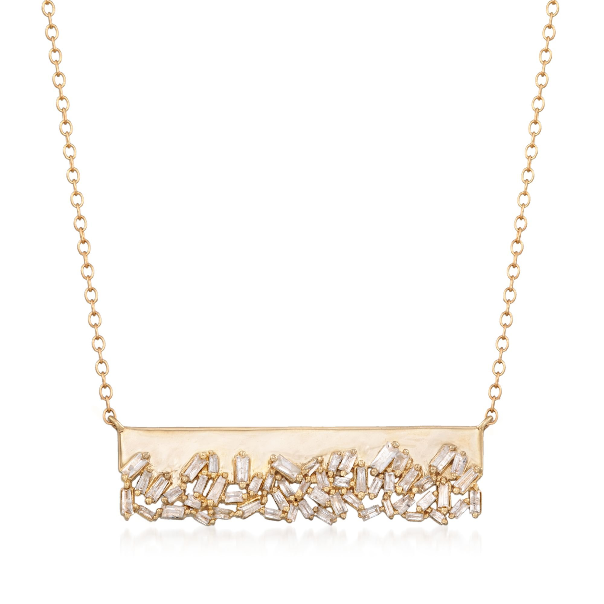 Ross-Simons .59 ct. t.w. Baguette Diamond Bar Necklace in 14kt Yellow Gold