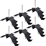ATDAWN Halloween Hanging Bats, Rubber Bats, Realistic Looking Spooky Bats, Flying Bats Halloween Decoration, 6 Pack