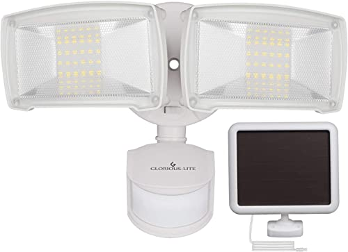 Pinador 48 LED Super Bright Solar Motion Sensor Light with Remote Control, 7 Adjustable Color Settings Warm White to Cool White , 3 Modes, IP65 Waterproofing White