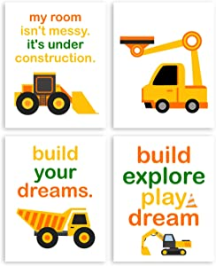 Ihopes Inspirational Quote Boys Trucks Posters Decor Wall Art Prints - Funny Construction Trucks Transport Vehicle Prints for Kids Boys Bedroom Nursery Playroom Decorations - Set of Four 8x10 Unframed