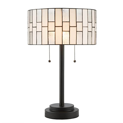 CO-Z 2-Light Tiffany Style Table Lamp, Art Glass Geometry Shape Table Lamp, UL Listed. Cylinder Shade Tiffany Lamp