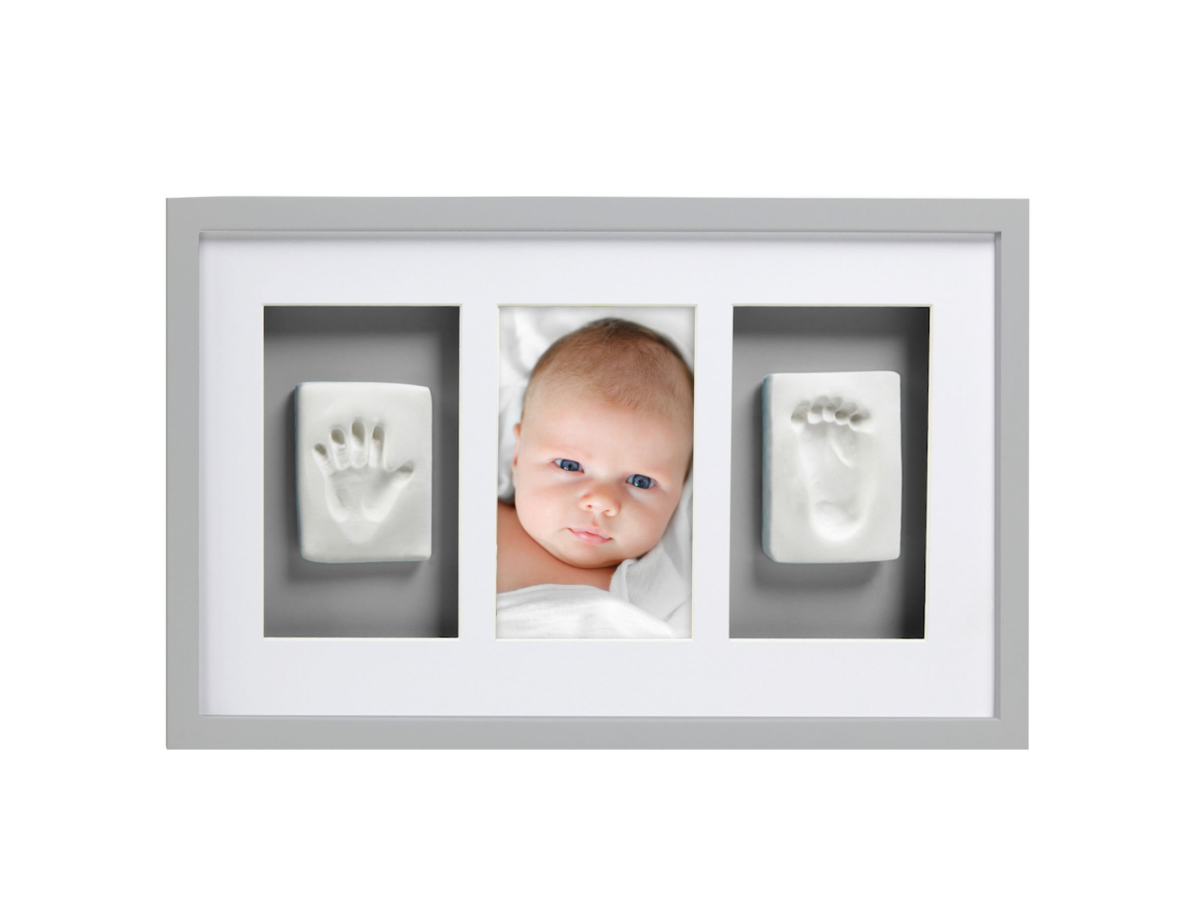 Pearhead Babyprints Newborn Baby Handprint and Footprint Deluxe Wall Photo Frame & Impression Kit - Makes A Perfect Baby Shower Gift, Gray by Pearhead