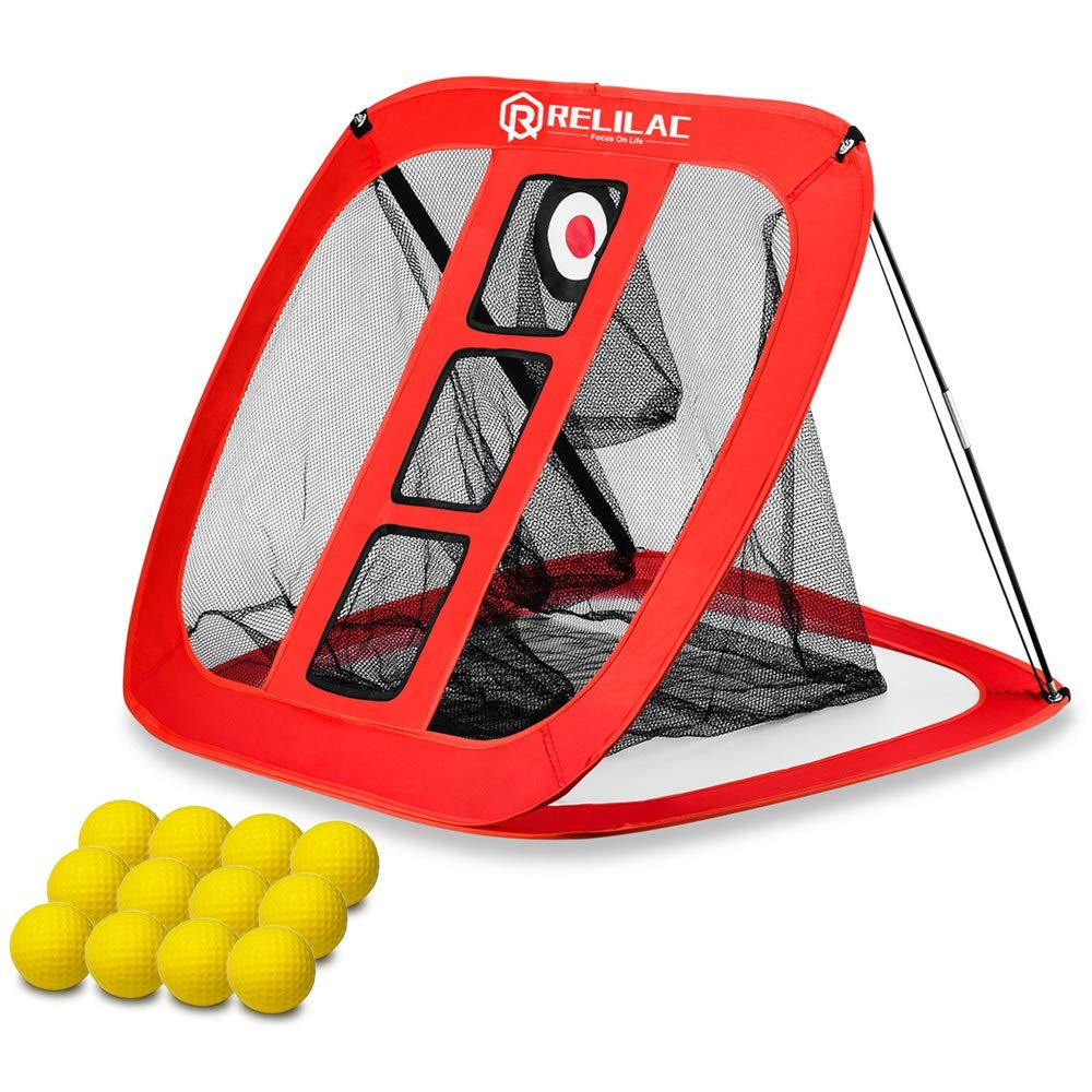 RELILAC Pop Up Golf Chipping Net with 12 Foam Training Balls - Indoor/Outdoor Golfing Target Accessories for Backyard Accuracy and Swing Practice - Great Gifts for Men, Dad, Husband, Women, Kid by RELILAC