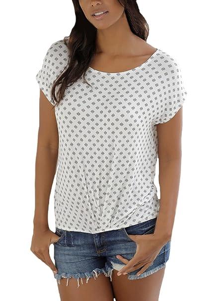 HX fashion Tops Mujer Verano Basicas Manga Corta Cuello Redondo Flores Estampado Basic Ropa Camisetas Vintage Casual Camiseta T Shirt Blusas Ropa: ...