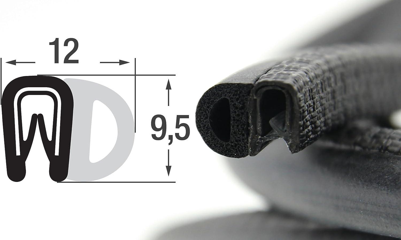DS4 Dichtungsprofil von SMI-Kantenschutzprofi mit seitlicher Dichtung aus EPDM Moosgummi Klemmbereich 1-2mm einfache Montage 5 m Klemmprofil aus weich PVC selbstklemmend ohne Kleber