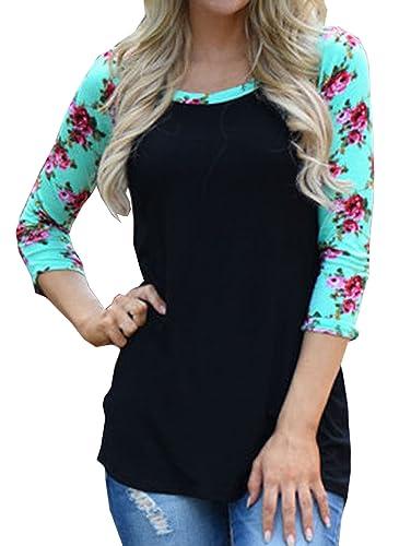 Elevesee Mujeres Camiseta Con Media Manga Cuello Redondo Estampado Floral Camisa Blouses T Shirt Pul...