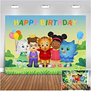 Cartoon Daniel Tiger's Cat Neighborhood Happy Birthday Photography Background 5x3ft Jungle Safari Photo Backdrops Kids Birthday Party Banner Newborn Baby Shower Supplies Cake Table Decor Props Vinyl