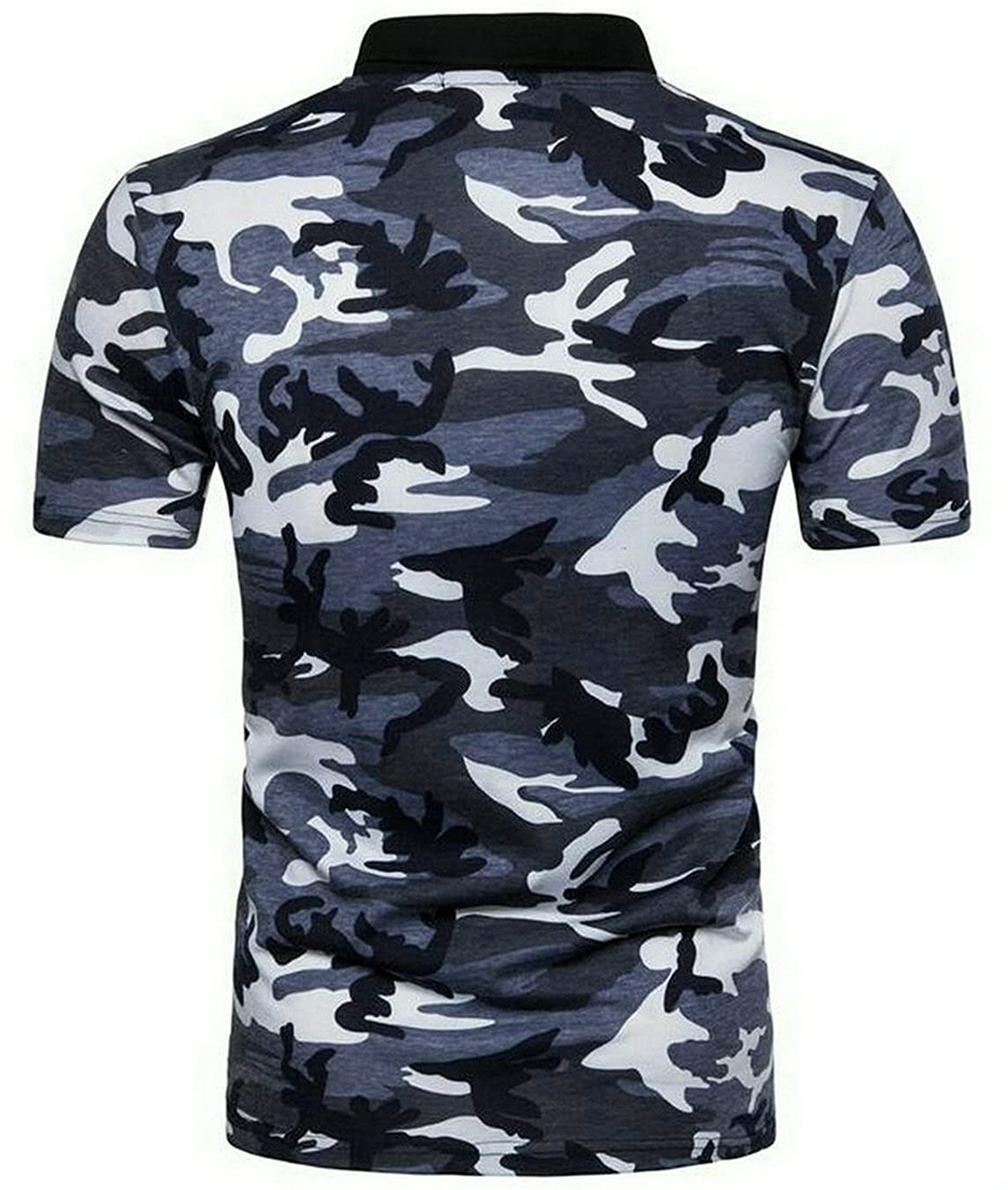 YYG-Men Summer Camo Print Short Sleeve Polo Shirt Blosue Top