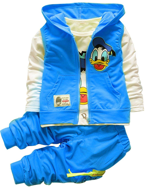 EkarLam Unisex Children Fashion Hoodies Vest + Shirt + Pants 3 Pieces Suit Blue 100cm/2Y-3Y