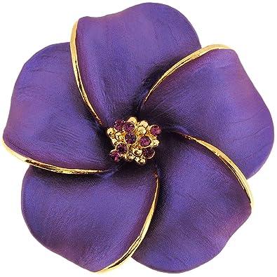 e188e8c788e Image Unavailable. Image not available for. Color: Fantasyard Dark Purple  Hawaiian Plumeria Swarovski Crystal Flower Brooch Pin and Pendant