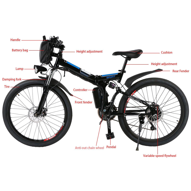 Befied Bicicleta Eléctrica de Montaña 26 inch Plegable con Bateria Litio 36 V 8AH Motor brushless 250W 21 Velocidades Cuadro de Aluminio: Amazon.es: ...