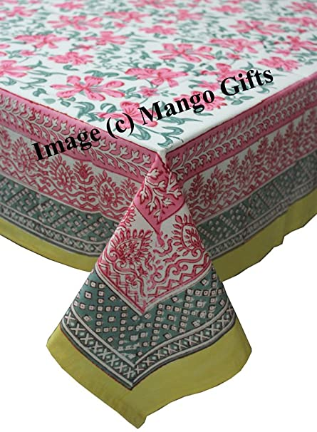 Hand Block Print Indian Tablecloth Cover 100%Cotton Floral 150*220cm