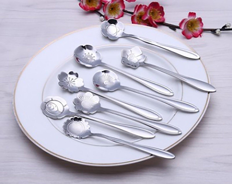 4Pcs Creative Elegant Flowers Shape Stainless Steel Coffee Tea Spoon,Silver,12.5x2.7cm B-Work Q-027