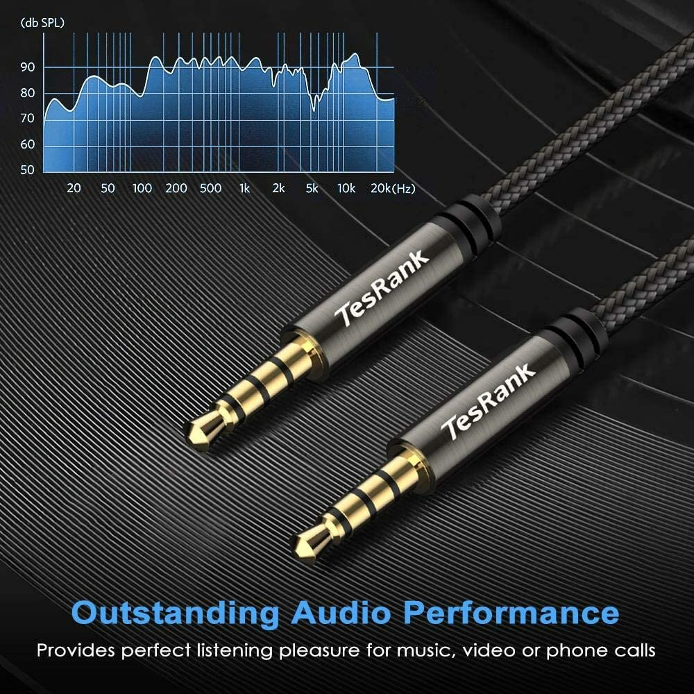 1M TesRank 3.5mm Audio Cable 4-Pole Nylon Aux Lead Braid Cord Support Microphone for Headphones//TV//Laptop//Smartphones//Tablets//Home Stereo//Car and More