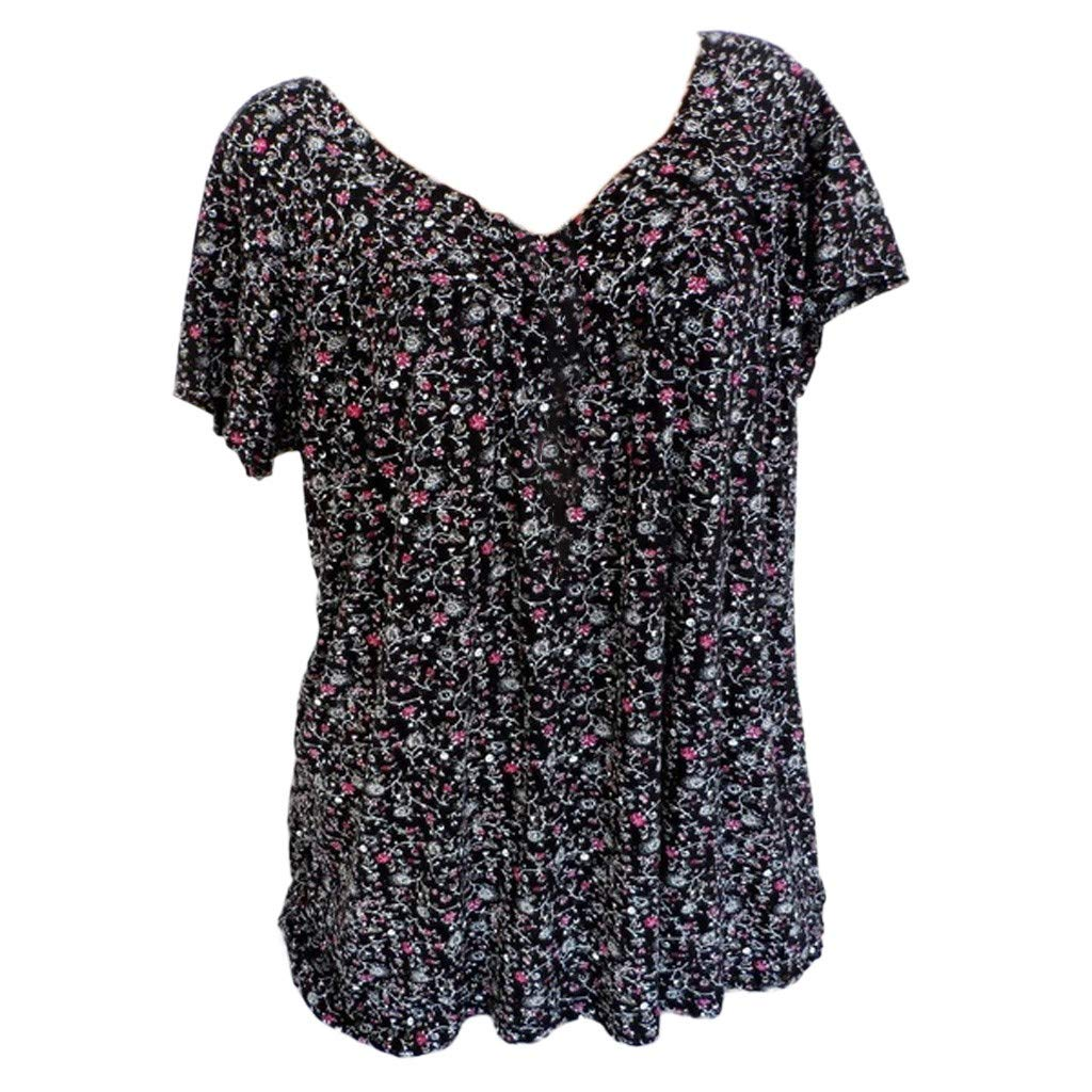 Clothful.Woman Tops, Women Plus <br><br>Size Short Sleeves V-Neck Print Blouse Pullover Tops Shirt Black