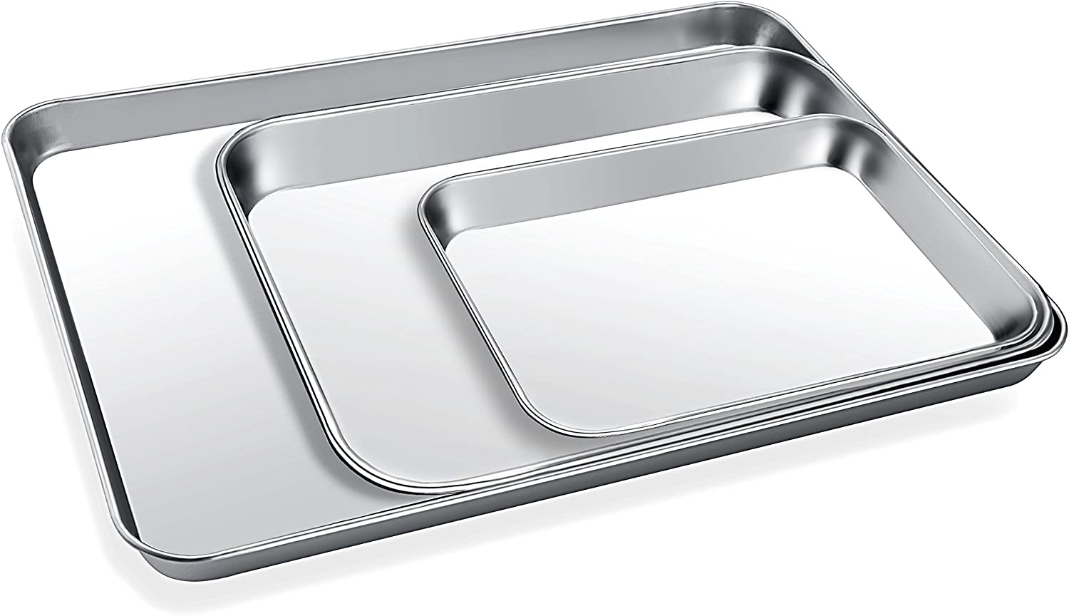 Baking Sheet Set 3, Zacfton Cookie Sheet Stainless Steel Toaster Oven Tray Pan Rectangle, Non Toxic Healthy,Superior Mirror Finish Easy Clean, Dishwasher Safe 16inch 12inch 9inch