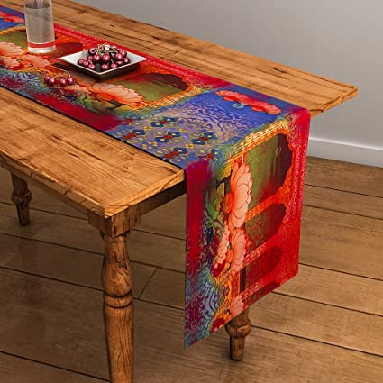 Sej By Nisha Gupta Sej Abstract Multicolour Hd Digital Premium 13 By 48 Inches Table Runner